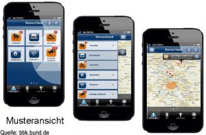 Musteransichten der BBK-App. Diese soll demnächst veröffentlicht werden.