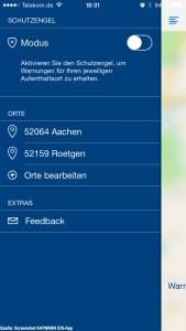 """Einstellungsseite der KATWARN-App mit den definierten Standorten und der Auswahlmöglichkeit """"Schutzengel"""""""
