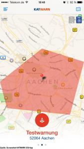 In diesem Beispiel habe ich eine Testwarnung für Aachen ausgelöst.